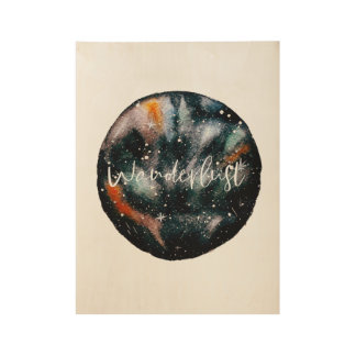 Poster Sur Bois Affiche de galaxie d'envie de voyager