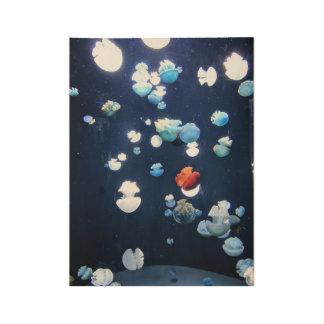 Poster Sur Bois Affiche de monogramme de méduses d'arc-en-ciel