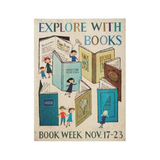 Poster Sur Bois Affiche en bois de la semaine du livre de 1957