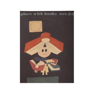 Poster Sur Bois Affiche en bois de la semaine du livre de 1958
