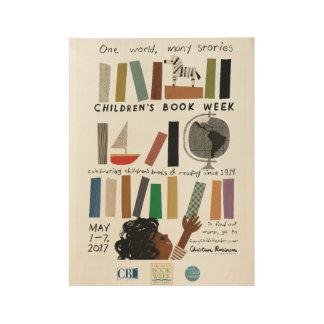 Poster Sur Bois Affiche en bois de la semaine du livre de 2017