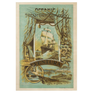 Poster Sur Bois Affiche océanique vintage de menu de paquebot