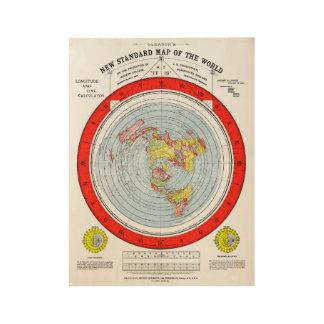 Poster Sur Bois Carte standard de Gleasons de la terre plate