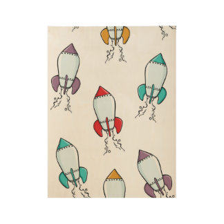Poster Sur Bois Conception d'amusement de bateau de Rocket de