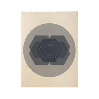 Poster Sur Bois Copie en bois minimale d'hexagone géométrique