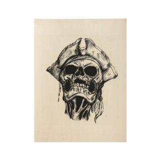 Poster Sur Bois Crâne de pirate