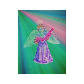 Poster Sur Bois Dieu envoie une affiche d'ange
