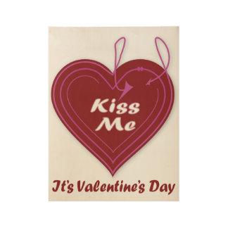 Poster Sur Bois Embrassez-moi que c'est affiche de Saint-Valentin