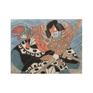 Poster Sur Bois Guerrier vintage samouraï japonais