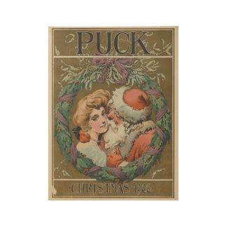 Poster Sur Bois Guirlande de baiser vintage avec du charme de Noël