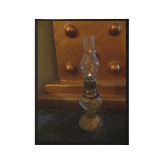 Poster Sur Bois Lampe à pétrole, sculpture de cuivre