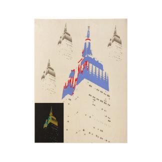 Poster Sur Bois L'Empire State Building stylisé