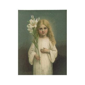 Poster Sur Bois Lis blanc semblant angélique de robe de fille