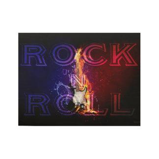 Poster Sur Bois Musique flamboyante de guitare électrique du feu