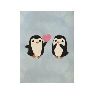 Poster Sur Bois Pingouins dans l'amour
