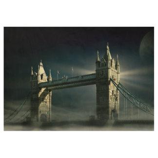 Poster Sur Bois Pont Londres de tour en brouillard de nuit
