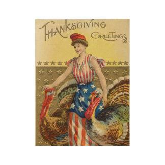 Poster Sur Bois Salutation américaine de thanksgiving vintage