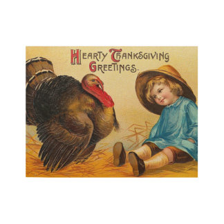 Poster Sur Bois Salutation vintage mignonne de thanksgiving
