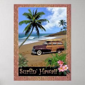 Poster Surfin Hawaï