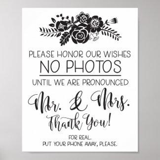 Poster Svp aucun signe de cérémonie de mariage de photos