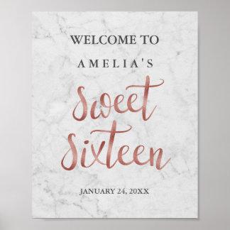 Poster Sweet sixteen rose d'or de Faux de marbre de signe