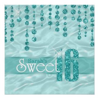 Poster Sweet sixteen Teal ID260 de bijou de satin