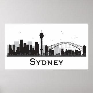 Poster Sydney, Australie horizon noir et blanc de | de