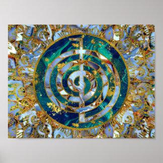 Poster Symbole de Choku Rei dans le mandala sur le marbre