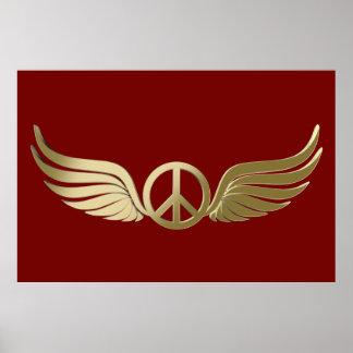 Poster Symbole de paix de regard en métal avec des ailes