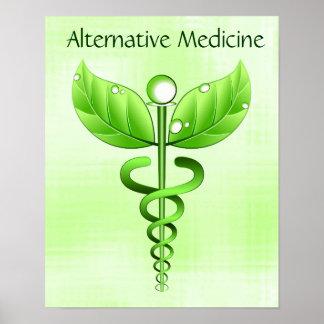 Poster Symbole vert alternatif léger de caducée de