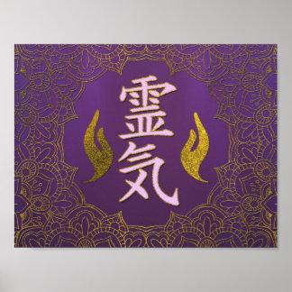 Poster Symboles curatifs de mains de Reiki avec le lotus