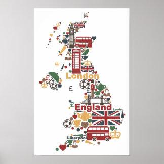 Poster Symboles de carte de l'Angleterre