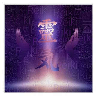 Poster Symboles de Reiki et mains curatives sur la