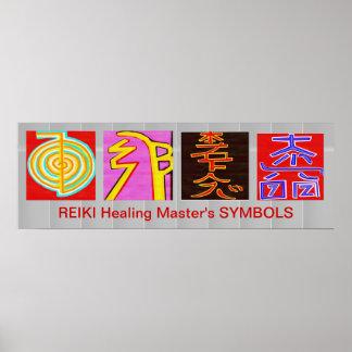 Poster Symboles principaux de REIKI - base d'OmMANTRA
