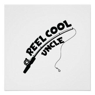 Poster T-shirt frais de pêche d'oncle de bobine