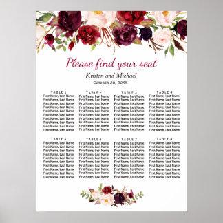 Poster Tableaux floraux rouges de Bourgogne 8 épousant le