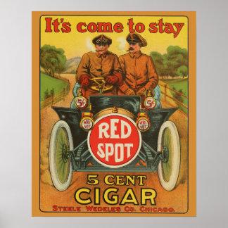 Poster Tache rouge vintage affiche d'annonce de voiture
