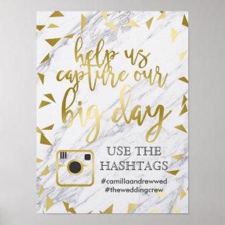 Poster Taches d'or et Hashtag l'épousant de marbre
