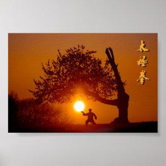 Poster Taichi (taiji), arbre cerisier soleil couchant