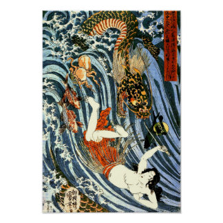 Poster Tamatori et beaux-arts de Japonais de Kuniyoshi de