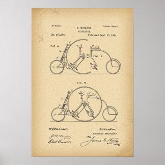 Poster Tandem de bicyclette de 1884 brevets