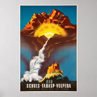 Poster Tarasp, Suisse, affiche de voyage
