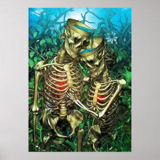 Poster Tarot de Père Noël Muerte - deux de tasses