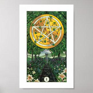 Poster Tarot en bois de Robin - as des pentagrammes