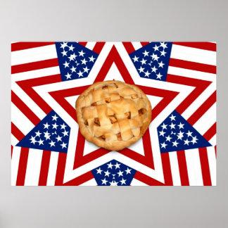 Poster Tarte aux pommes sur des étoiles et des rayures