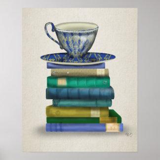 Poster Tasse de thé et livres