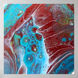 Poster Teal et l'acrylique d'en cuivre versent l'art