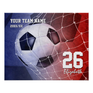 Poster Team le but du ballon de football des filles