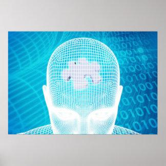 Poster Technologie futuriste avec la puce Soluti d'esprit