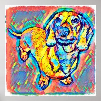 Poster Teckel coloré d'art de bruit